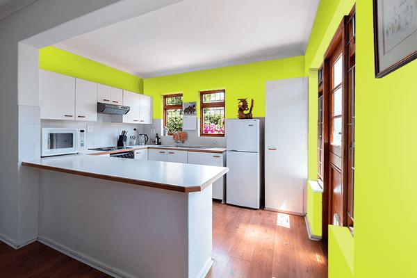 Pretty Photo frame on Pear color kitchen interior wall color