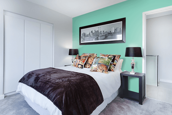 Pretty Photo frame on Mountain Green color Bedroom interior wall color