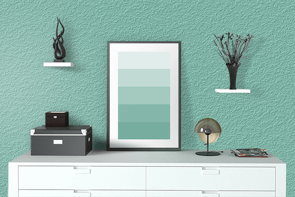 Pretty Photo frame on Mountain Green color drawing room interior textured wall