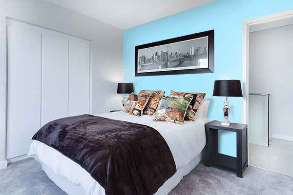 Pretty Photo frame on Fresh Air color Bedroom interior wall color