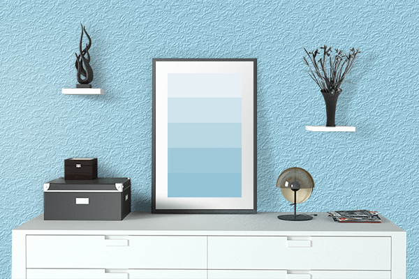 Pretty Photo frame on Fresh Air color drawing room interior textured wall
