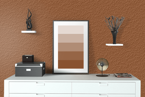 Pretty Photo frame on Rich Brown color drawing room interior textured wall