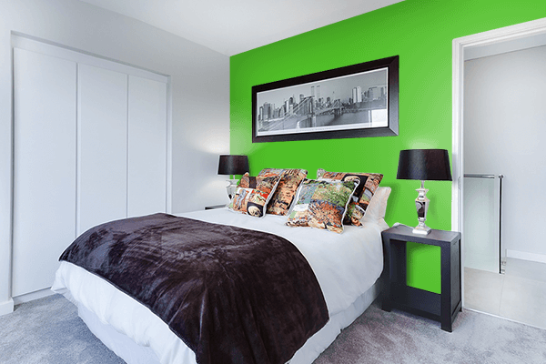 Pretty Photo frame on Perfect Green color Bedroom interior wall color
