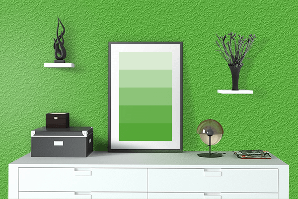 Pretty Photo frame on Perfect Green color drawing room interior textured wall