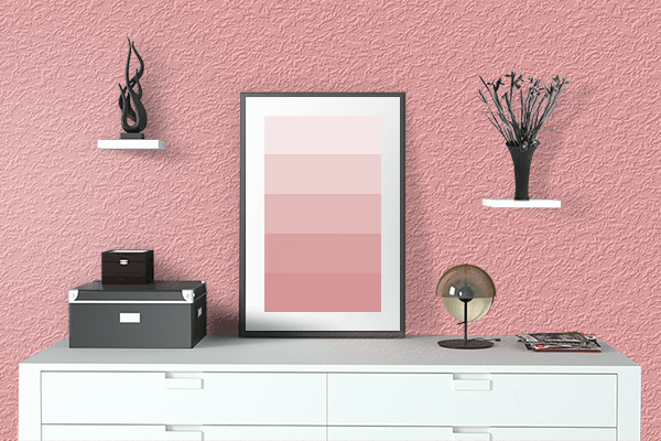 Pretty Photo frame on Fresh Red color drawing room interior textured wall