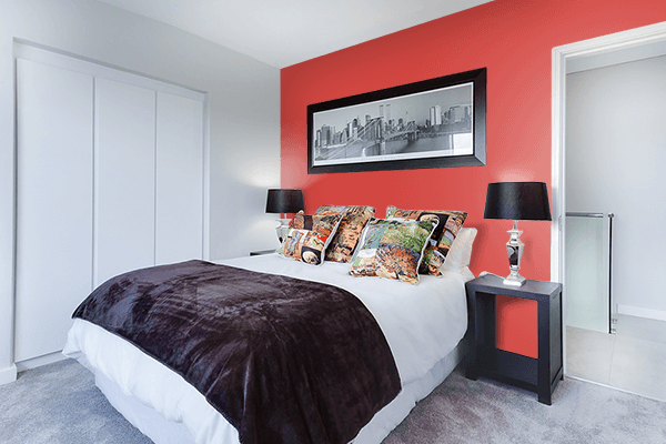 Pretty Photo frame on Rustic Red color Bedroom interior wall color