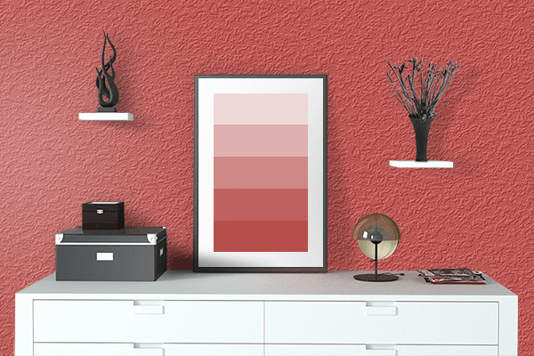 Pretty Photo frame on Rustic Red color drawing room interior textured wall