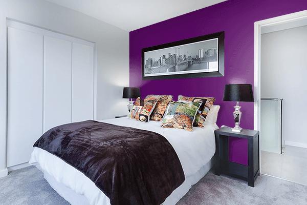 Pretty Photo frame on Deep Purple color Bedroom interior wall color