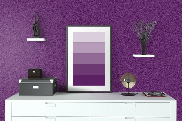 Pretty Photo frame on Deep Purple color drawing room interior textured wall