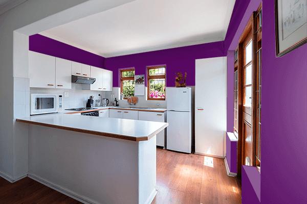 Pretty Photo frame on Deep Purple color kitchen interior wall color