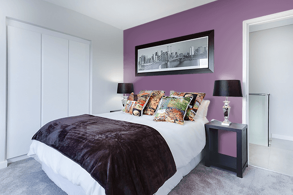 Pretty Photo frame on Red Lilac (RAL) color Bedroom interior wall color