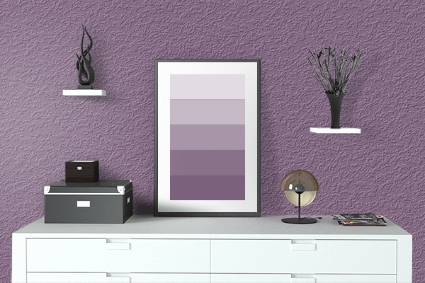 Pretty Photo frame on Red Lilac (RAL) color drawing room interior textured wall