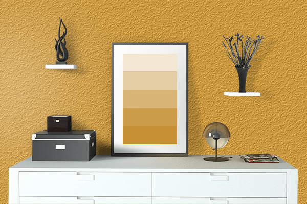 Pretty Photo frame on Marigold color drawing room interior textured wall