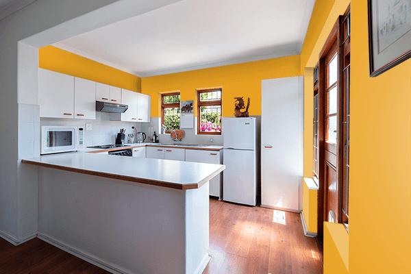 Pretty Photo frame on Marigold color kitchen interior wall color