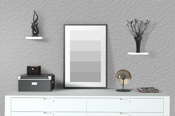 Pretty Photo frame on Pale Grey color drawing room interior textured wall