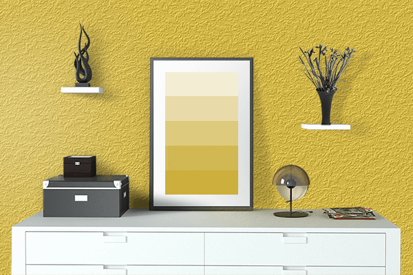 Pretty Photo frame on Zinc Yellow (RAL) color drawing room interior textured wall