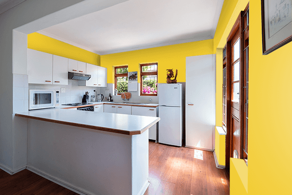 Pretty Photo frame on Zinc Yellow (RAL) color kitchen interior wall color