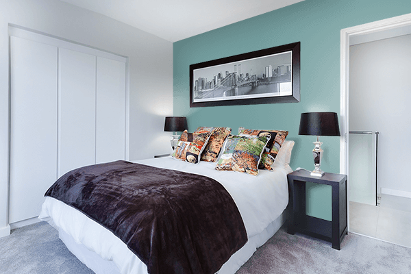 Pretty Photo frame on Dull Cyan color Bedroom interior wall color