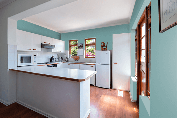 Pretty Photo frame on Dull Cyan color kitchen interior wall color