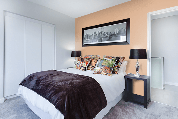 Pretty Photo frame on Bright Brown color Bedroom interior wall color