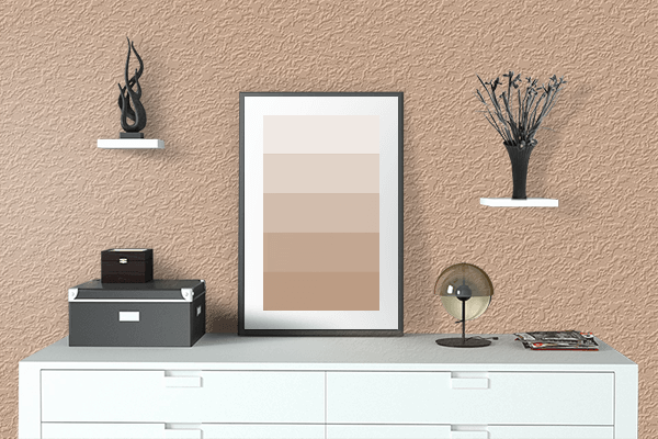 Pretty Photo frame on Bright Brown color drawing room interior textured wall