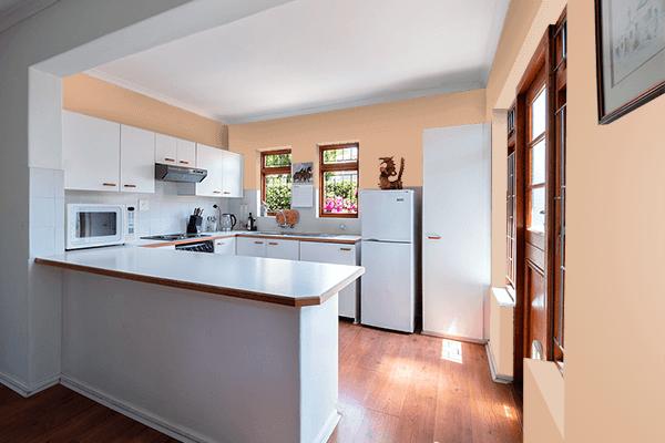 Pretty Photo frame on Bright Brown color kitchen interior wall color