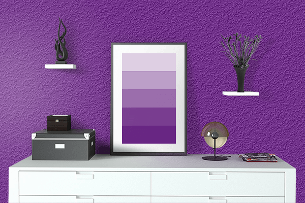 Pretty Photo frame on Vivid Purple color drawing room interior textured wall