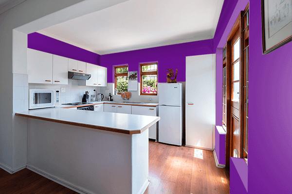 Pretty Photo frame on Vivid Purple color kitchen interior wall color