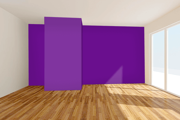 Pretty Photo frame on Vivid Purple color Living room wal color