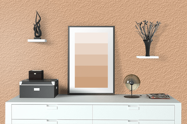 Pretty Photo frame on Rich Apricot color drawing room interior textured wall