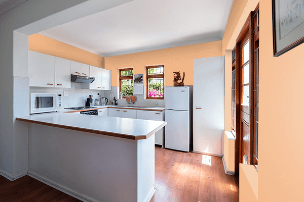 Pretty Photo frame on Rich Apricot color kitchen interior wall color