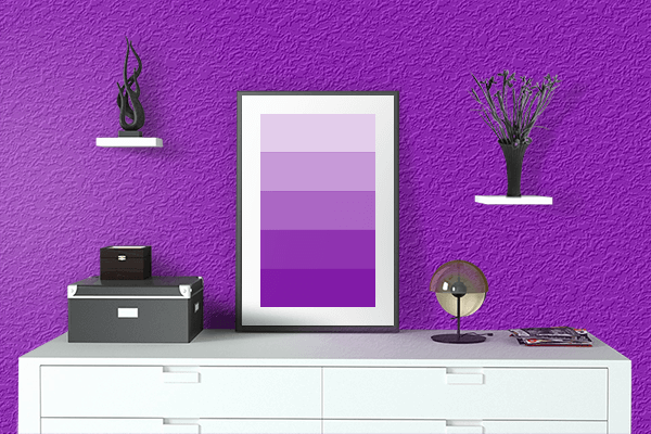 Pretty Photo frame on Pure Purple color drawing room interior textured wall