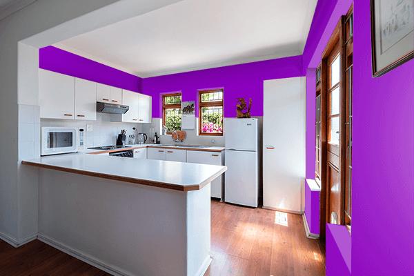 Pretty Photo frame on Pure Purple color kitchen interior wall color