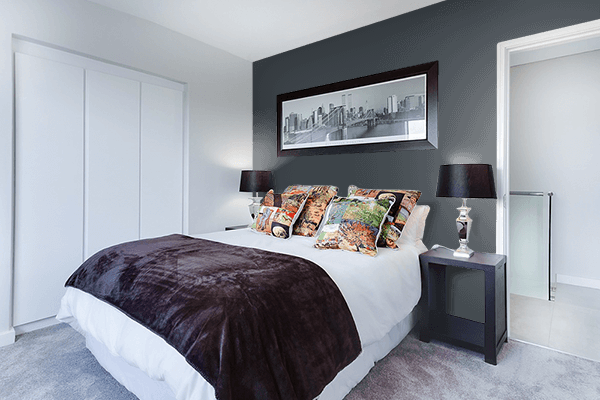 Pretty Photo frame on Matte Charcoal color Bedroom interior wall color
