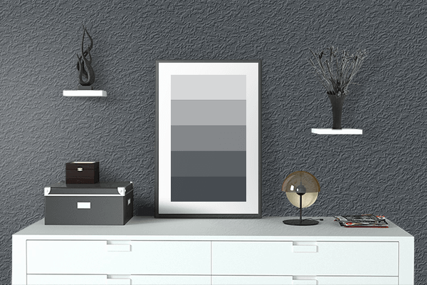 Pretty Photo frame on Matte Charcoal color drawing room interior textured wall