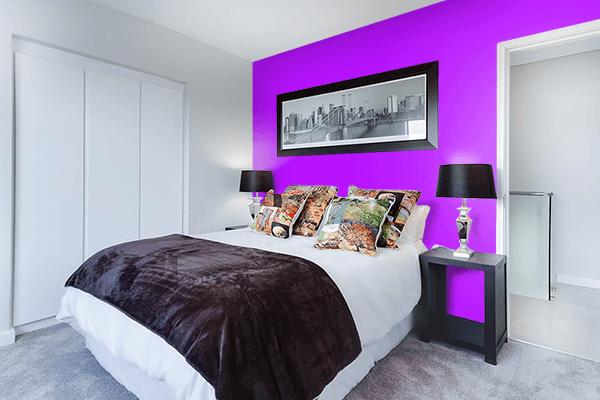 Pretty Photo frame on Bright Violet color Bedroom interior wall color