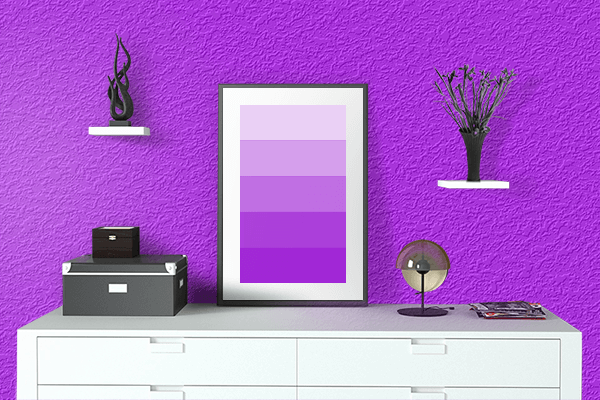 Pretty Photo frame on Bright Violet color drawing room interior textured wall