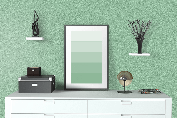 Pretty Photo frame on Pastel Verde color drawing room interior textured wall