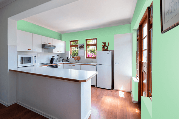 Pretty Photo frame on Pastel Verde color kitchen interior wall color