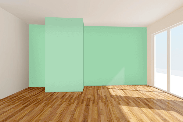 Pretty Photo frame on Pastel Verde color Living room wal color