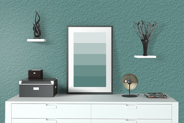 Pretty Photo frame on Old Turquoise color drawing room interior textured wall