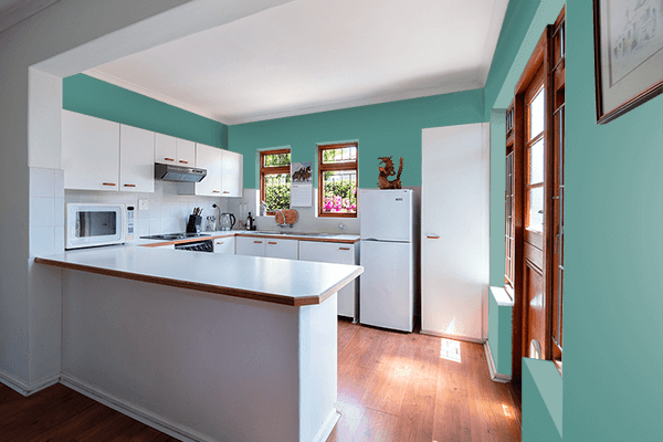 Pretty Photo frame on Old Turquoise color kitchen interior wall color