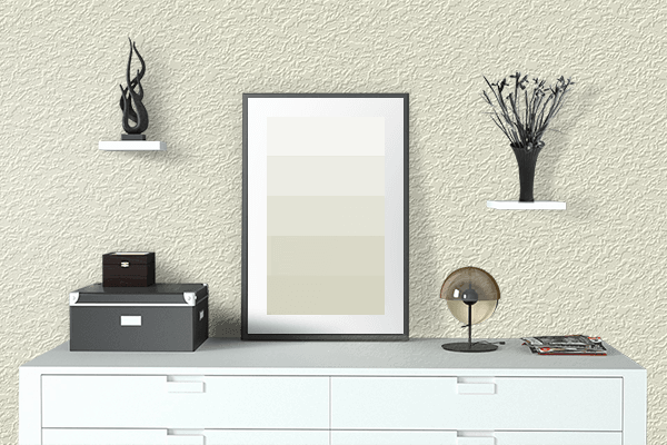 Pretty Photo frame on Pale Cream color drawing room interior textured wall