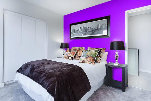 Pretty Photo frame on Vivid Violet color Bedroom interior wall color