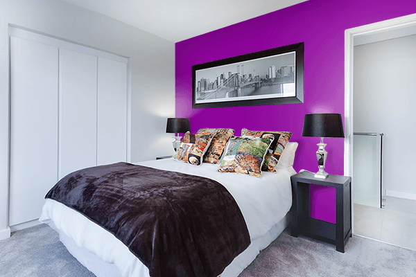 Pretty Photo frame on Mauveine color Bedroom interior wall color