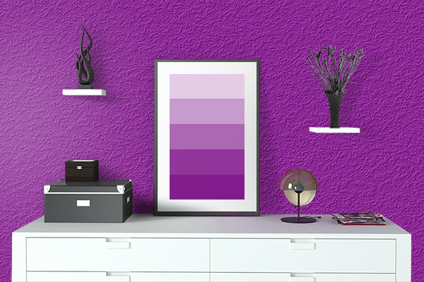 Pretty Photo frame on Mauveine color drawing room interior textured wall