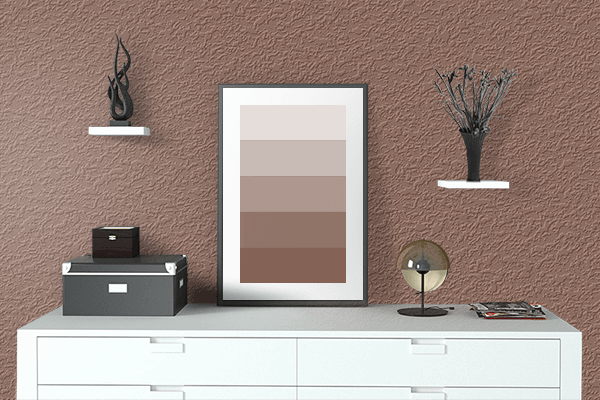 Pretty Photo frame on Light Chocolate color drawing room interior textured wall