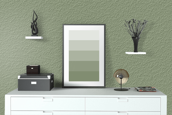 Pretty Photo frame on 薄青 (Usuao) color drawing room interior textured wall