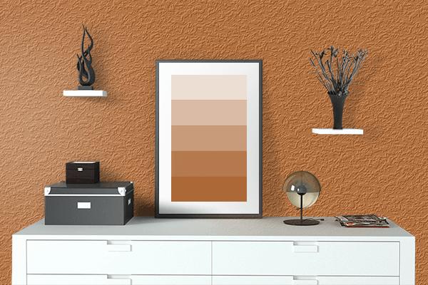 Pretty Photo frame on 金茶 (Kincha) color drawing room interior textured wall