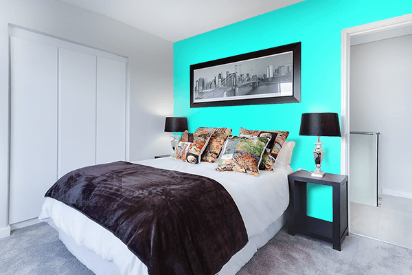 Pretty Photo frame on Pure Turquoise color Bedroom interior wall color